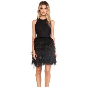 Milly Blair black feather dress